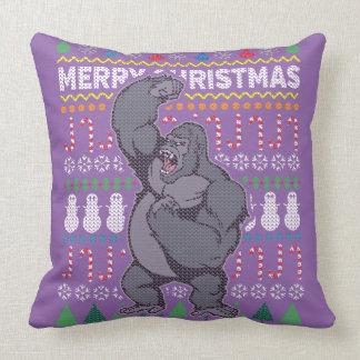 Wildlife Gorilla Merry Christmas Ugly Sweater Throw Pillow