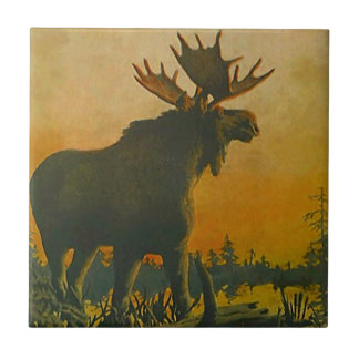 Wildlife Moose In Lowland Marsh Swamp Donkey Tile