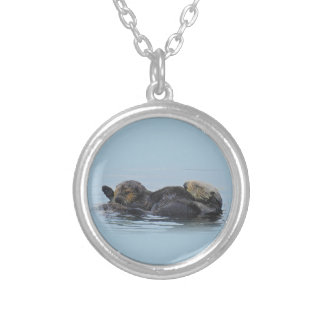 Wildlife necklace, jewelry, sealife, sea otters silver plated necklace