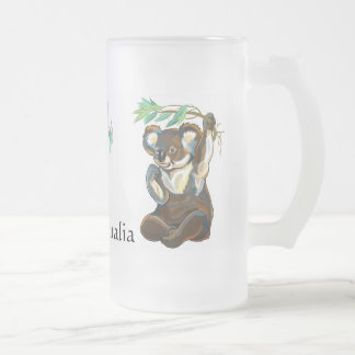 wildlife of Australia Frosted Glass Beer Mug
