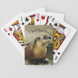 Wildlife, Otter photo, personalize with name Playing Cards