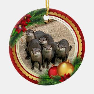 Wildlife Otters Cute Christmas Animals Ceramic Ornament
