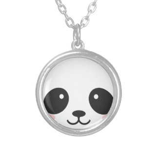 WILDLIFE PANDER FACE SILVER PLATED NECKLACE
