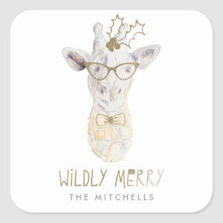 Wildly Merry Giraffe Holiday Gift Tag Sticker