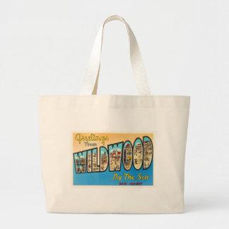 Wildwood by the Sea New Jersey NJ Vintage Postcard Large Tote Bag