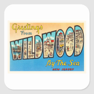 Wildwood by the Sea New Jersey NJ Vintage Postcard Square Sticker