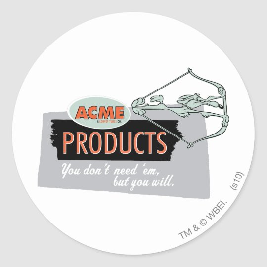 Wile E Coyote Acme Products 9 Classic Round Sticker