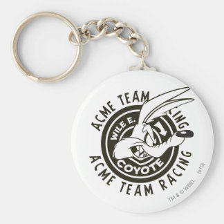 Wile E Coyote Acme Team Racing B W Keychain