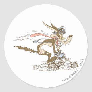 Wile E. Coyote Cycle Racer Classic Round Sticker