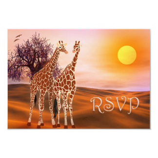 "Wilflife Giraffe Zoo Theme RSVP Card 3.5"" X 5"" Invitation Card"