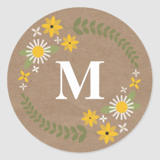Wilflower Monogram Brown Paper Inspired Sticker