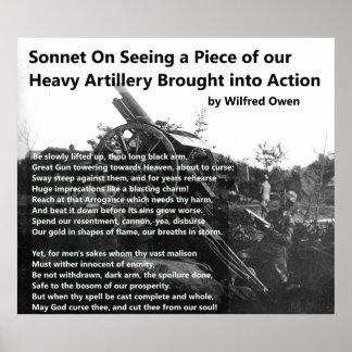 Wilfred Owen Heavy Artillery Sonnet Poster