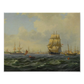 Wilhelm Victor Bille 1864 - 1908 SHIPPING AT COPEN Poster
