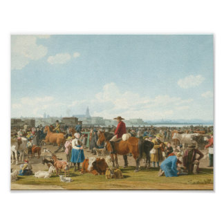 Wilhelm von Kobell - Cattle Market before a Large Poster