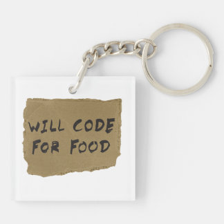 Will Code For Food Keychain