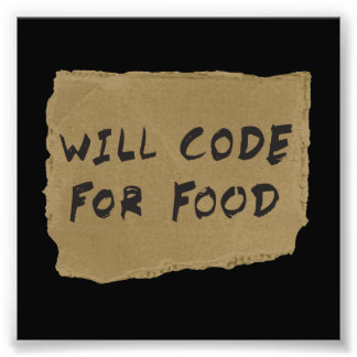 Will Code For Food Photograph