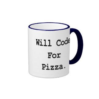 will code for pizza ringer coffee mug