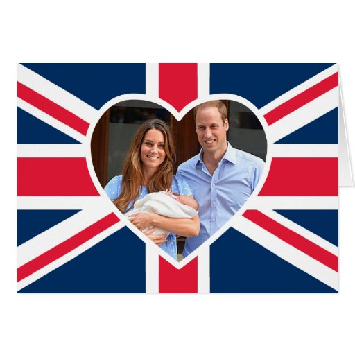 Will, Kate, Prince George - British Flag Cards