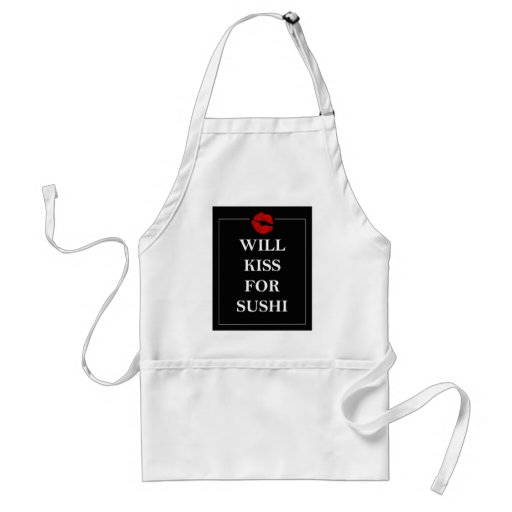 Will Kiss for Sushi Gift Ideas Unique Art Print Apron