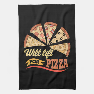 Will Lift For Pizza - Funny Novelty Workout Kitchen Towel
