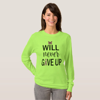 Will Never Give Up Fibromyalgia Awareness TShirt