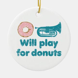 Will Play Baritone for Donuts Ceramic Ornament