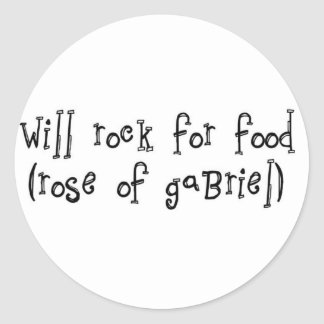 "will rock for food 3"" sticker 6 pack"