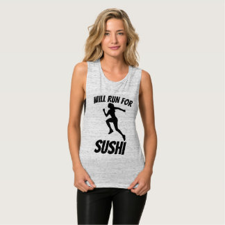 WILL RUN FOR SUSHI, Funny Ladies T-shirts