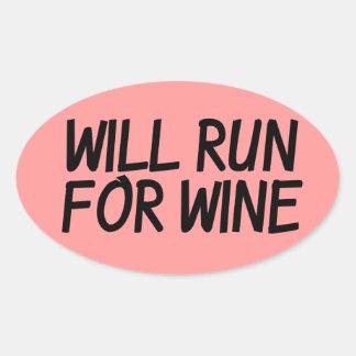 Will run for wine oval sticker