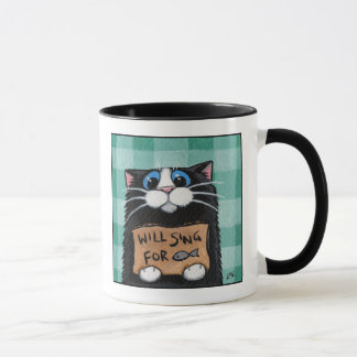 Will Sing For Fish - Whimsical Cat Mug
