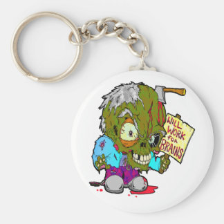 Will Work for Brains Keychain