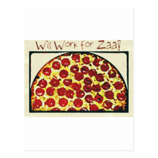 Will Work for Pizza Postcard