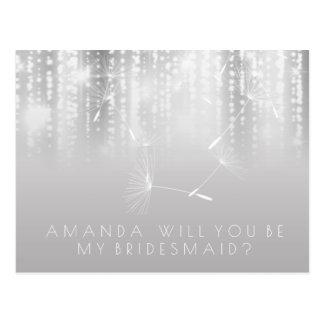 Will You Be Bridesmaid Dandelion Gray White Ombre Postcard