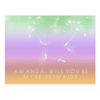 Will You Be Bridesmaid Dandelion Purple Mint Ombre Postcard