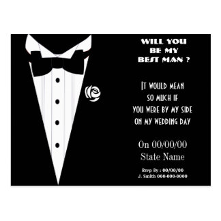 will you be my best man ? be my groomsmen postcards