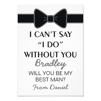 "Will You Be My Best Man Black Bow Tie 4.5"" X 6.25"" Invitation Card"