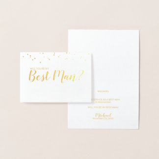 Will You Be My Best Man? Elegant Gold Foil Card