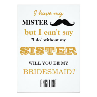 """Will you be my bridesmaid? 5"""" x 7"""" invitation card"""