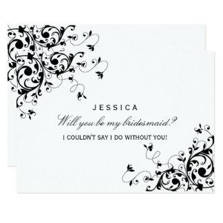 "Will You Be My Bridesmaid? Black & White Swirl 5"" X 7"" Invitation Card"