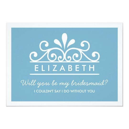 Will You Be My Bridesmaid? Blue Tiara Card