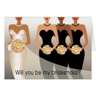 Will you be my Bridesmaid? Bridal Party black Card