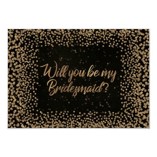 Will You Be My Bridesmaid Brown VIP Glitter Gold Card