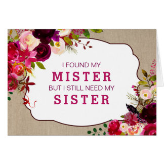 Will you be my bridesmaid, Burgundy Floral  3979 Card