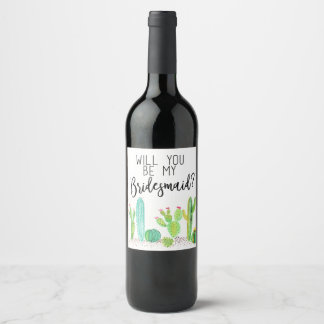Will You Be My Bridesmaid? Cactus Wedding Favour Wine Label