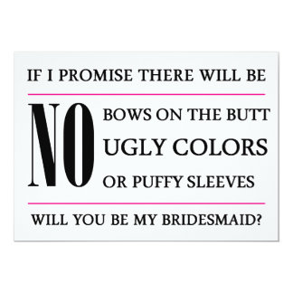 """Will You Be My Bridesmaid Card 5"""" X 7"""" Invitation Card"""