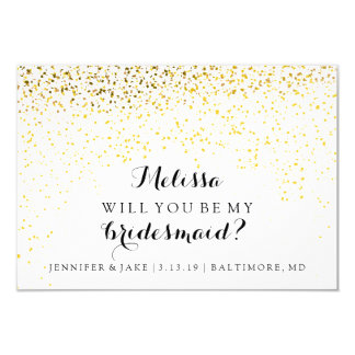 "Will You Be My Bridesmaid Card - Confetti Fab 3.5"" X 5"" Invitation Card"