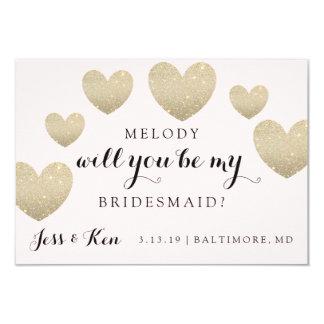 "Will You Be My Bridesmaid Card - Fab Hearts 3.5"" X 5"" Invitation Card"