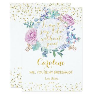 Will you be my bridesmaid card gold glitter floral