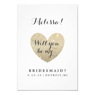 "Will You Be My Bridesmaid Card - Heart Fab 3.5"" X 5"" Invitation Card"