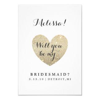 "Will You Be My Bridesmaid Card - Heart Fab 3.5"" X 5"" Invitation Card"